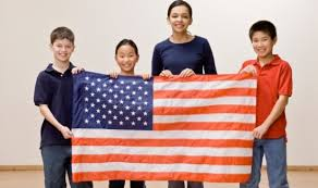 kids holding flag