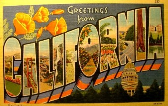 Greetings CA postcard