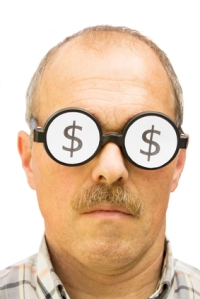 Man with money glasses